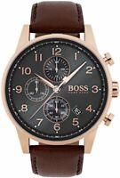 Hugo Boss HB 1513496 Navigator Chronograph Brown Leather Strap Men's Wrist Watch