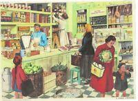 affiche carte expo Métier L'épicerie,THE GROCERY STORE Maraicher viande boîte