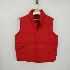 Lands End Mens Down Feathers Puffer Vest Sz Large 42/44 Red Pockets, Snap Front