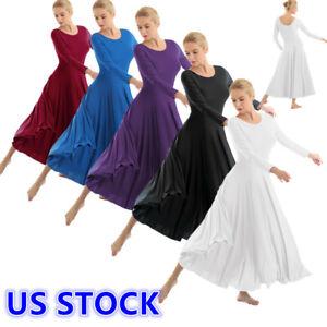 US _Women Praise Loose Fit Full Length Tango Waltz Dance Dress Liturgical #S-XXL