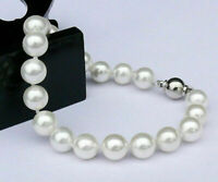 Pretty 10mm White Akoya Cultured Shell Pearl Round Beads Bracelet 7.5''