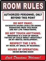 2 - Room Rules - STICKER Decal - Teen Bedroom Dorm Man Cave Sign Garage - FUNNY
