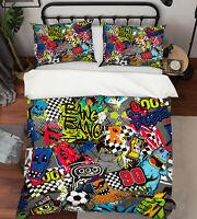 3D Football Monste ZHUA4760 Bed Pillowcases Quilt Duvet Cover Set Queen King Zoe