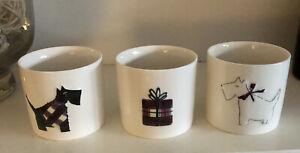 Trio Of Ceramic Tea Light Holders/Mini Planters- Westie/Scottie Dog X 3 VGC