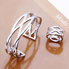 Fashion Generous 925Sterling Silver Crossed Net Women Bracelet Ring Set YS285