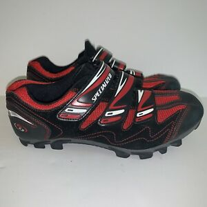 Specialized Cycling Shoes 40~M 7.5~W 9 Red Black 3-Strap Suede Body Geometry MTB