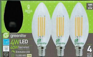 💡 4 Pk Dimmable LED Candelabra Base Bulb E12 Soft White 4W 40 Watt 330 Lumens