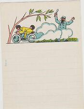 papier a lettre enfant-dessin moto SIDE-CAR-agent de police
