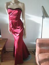Karen Millen Burgundy Full Length Satin Evening Cocktail Fishtail Dress 10-12