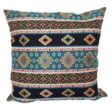 "Turquoise Kilim Pattern Tapestry 18x18"" Pillow Case/Cushion Cover (Velvet back)"