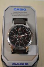 Casio Men's Quartz Black Chronograph Dial Brown Leather 48mm Watch MTPSW300L-1TN
