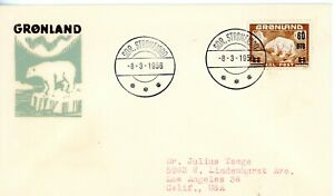 GREENLAND #40 1956 SURCHARGED POLAR BEAR ON FDC