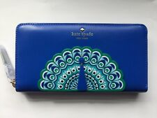 NWT KATE SPADE Leather Zip Around FULL PLUME PEACOCK Applique Lacey Wallet