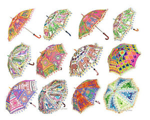 Vintage Umbrella Indian Handmade Patchwork Umbrella for Christmas Decorative