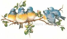 Vintage Image Shabby Bluebirds on Tree Branch Waterslide Decals BIR800