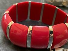 NWT STRETCHY THICK RED & SILVER PLASTIC BRACELET- COSTUME JEWELRY