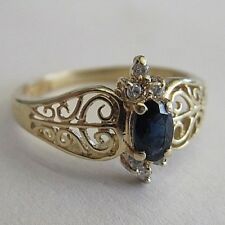 VINTAGE 14K GOLD FILIGREE SAPPHIRE AND CZ RING SIZE 6 1/4