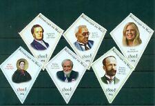 Famous Paleontologists Dinosaurs Science 6 diamond-shape MNH stamps set