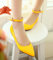 Womens Pointy Toe Casual Ankle Strap Candy Color Flat Ballerinas Shoes Plus Size