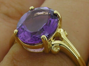 R080 Genuine 9ct 10K, 18K Solid Gold Natural Purple Amethyst Ring Oval Solitaire