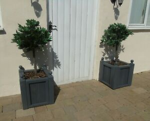 Pair Of Wooden Decking Timber Plant Pots Planters Tree Box Finials Slate Doorway