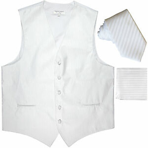 "New Men's Formal Vest Tuxedo Waistcoat_2.5"" necktie set striped wedding white"