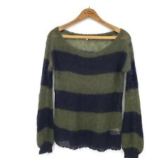 Pam & Gela Sweater Womens Small Army Olive Green Black Stripe Mohair Wool