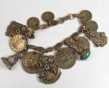 Vintage 1950s Phi Omega Delta Fob Charm Bracelet Coins Alpha Epilson Sorority