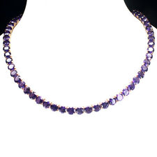 Sterling Silver 925 Rose Gold Plated Genuine Natural Amethyst Necklace 19-21 In