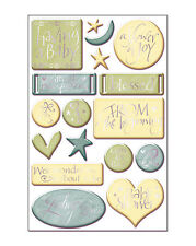 SWEET BEGINNINGS GOLD FOIL 3-D Epoxy (17PC) Sticker Sheet scrapbooking BABY