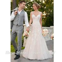 White/Ivory Beach Wedding Dress Boho Lace Bridal Gowns Button Back Sleeveless