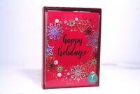 PAPYRUS Boxed Handmade 14 Christmas Cards, Lined Envelope, Gold Seals NIB