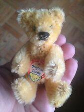 """Vintage Steiff Jointed Mohair Original Teddy Bear Chest Tag Miniature 3.5"""" CUTE"""
