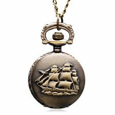 Pocket Watch Chain Necklace Steampunk Retro SailBoat/Warship/Pirate Ship Quartz