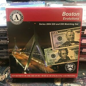Boston Evolutions Series 2004 $20 & $50 Matching Set Complete W/ COA Box