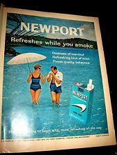 1962 Newport Cigarette Ad Couple Swimming Fun 10 1/4 x 13 1/2