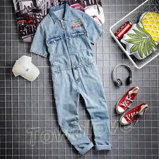 Men Denim Overall One-piece Pants Jeans Short Sleeve Top Jumpsuit Romper Trouser