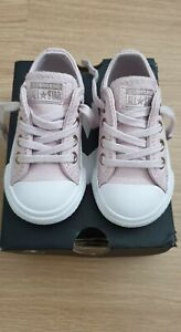 Baby Girls Converse Leather Trainers Size UK 4 Infant