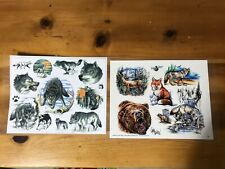 "Tattoo Johnny Flash Sheet Judy Parker Art 11"" X 14"" Wolves Grizzly Bear Animals"