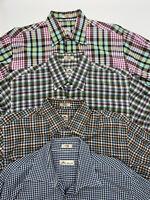 Peter Millar Long Sleeve Button Down Shirts Lot of 4 Cotton Plaid Mens Medium