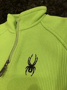Spyder Youth Core Sweater Quarter Zip Pullover Theory Green Black Kids Small GU