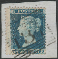 1855 SG34/35 2d BLUE PERF 14 MIS PERFORATED EDINBURGH 131 ON PIECE