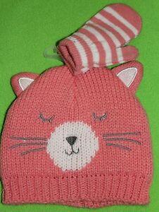 NEW girls CARTER'S infant HAT & MITTENS ears KITTEN winter CAT 2-pc SIZE 0-9 mth