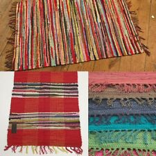 FAIR TRADE INDIAN RAG RUG 60 x 90cm (2' x 3') Recycled Cotton, Various Designs
