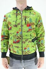 New AMBSN Mens Camp Ground Reversible Zip Hoodie Sweatshirt M Green/Black Medium