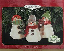 1999 Hallmark The Snowmen of Mitford Keepsake Ornament Set of 3 Snow Men NIB HTF
