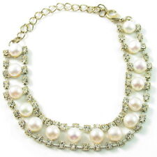 Fashion Bracelet Pearl Rhinestone Crystal Adjustable Bangle round bead White New