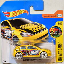 HOT WHEELS 2017 HW ART CARS VOLKSWAGEN GOLF MK7 #6/10 YELLOW SHORT CARD