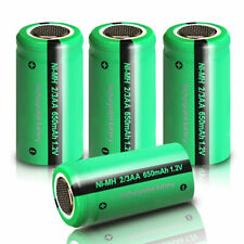 2/3AA Rechargeable Batteries 1.2v 650mAh NIMH Flat Top Battery for Lights 4pcs
