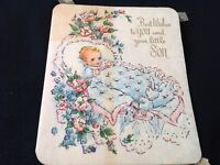 #703 Lovely Vintage 1940s Baby Greeting Card Comfy Baby Bassinet Ob Parchment